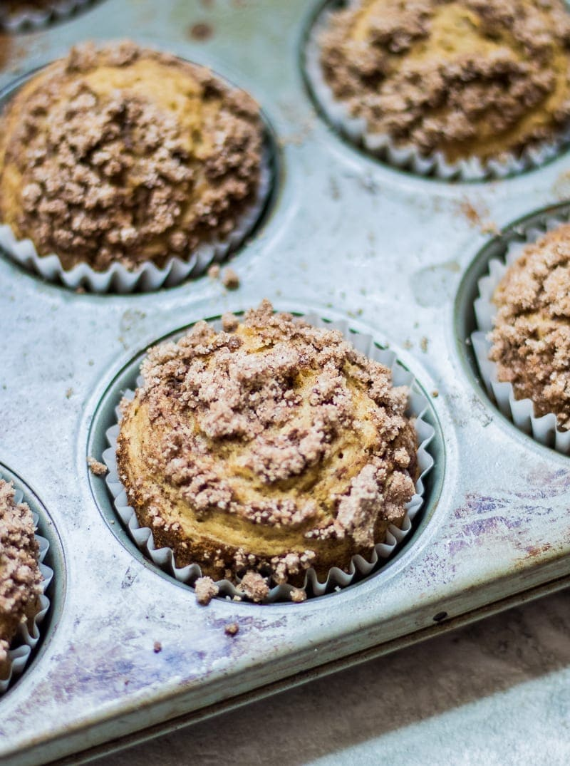 Coffee Cake Cinnamon Muffins: Temder, sweet muffins are swirled with cinnamon and topped with a delcioius Cinnamon Streusel. These muffins are gluten-free, dairy free and as delicious as any muffin you have ever had! Gluten Free. Dairy-Free.