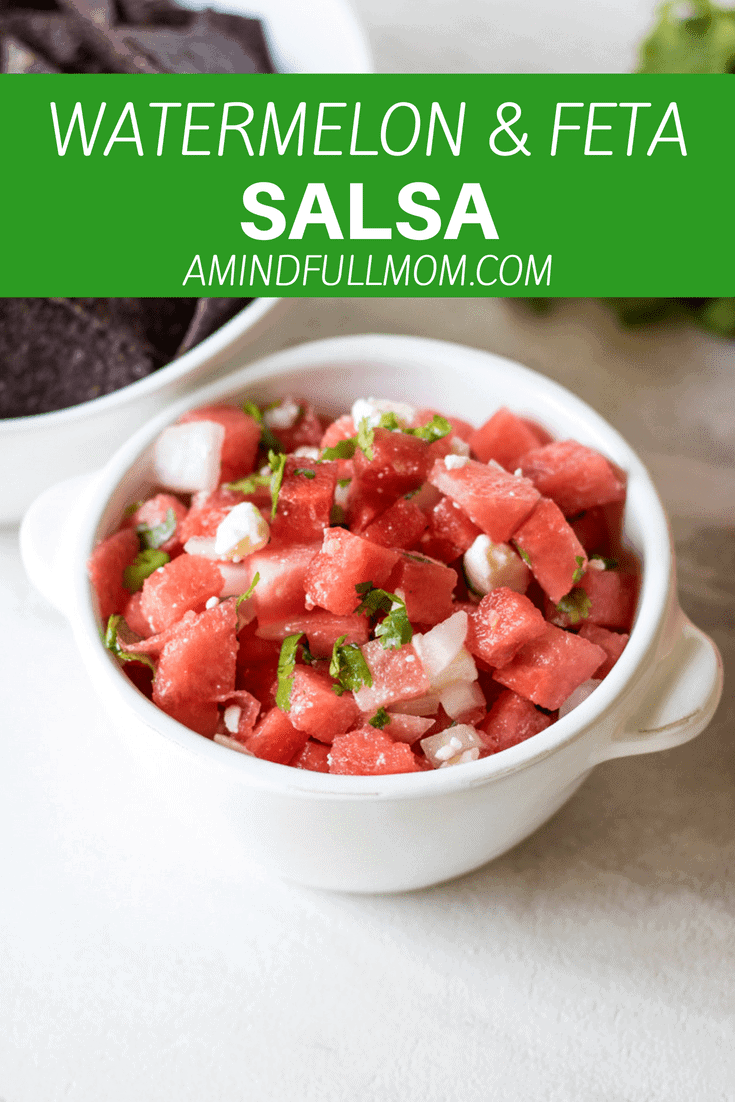 Watermelon Salsa: Watermelon is tossed with bright lime juice, fresh cilantro and salty feta for a perfect summer salsa. Pair with Blue Corn Chips for a festive red, white and blue appetizer. #appetizer #redwhiteandblue #watermelon #4thofjuly #memorialday