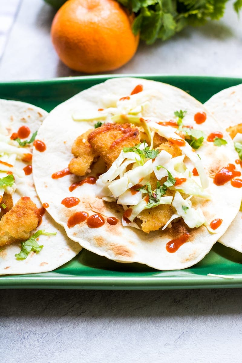 Easy asian fish tacos with ginger slaw simple flavorful for Easy slaw for fish tacos