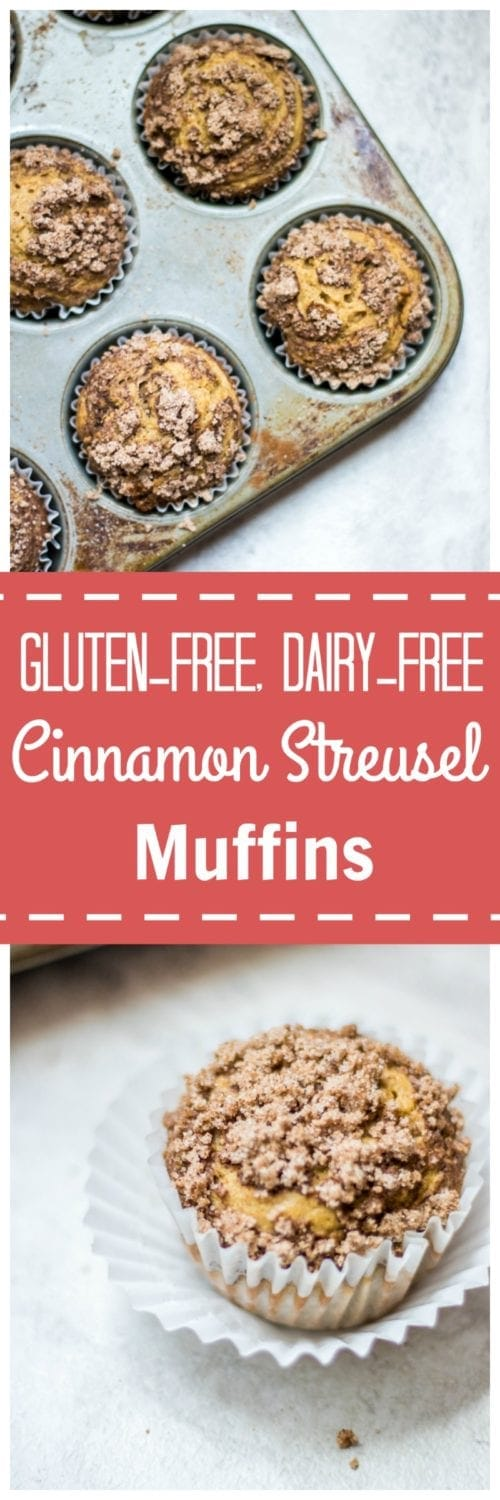 Gluten Free Cinnamon Streusel Muffins (and Dairy-Free) : Sweet cinnamon muffins are swirled with a cinnamon ribbon and topped with a crumb topping or a delicious gluten free muffin. Dairy Free, Vegan option. #glutenfree #dairyfree #muffin #vegan