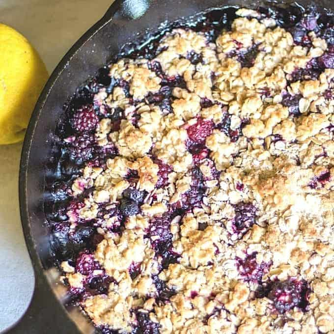 Grilled Crisp with berries in cast iron pan