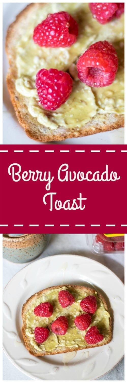 Berry Avocado Toast: Cream cheese, avocado, and honey are spread onto whole grain bread and topped with fresh raspberries for a delightful take on Avocado Toast.