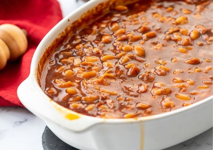 White Casserole Dish with Old Fashioned Baked Beans