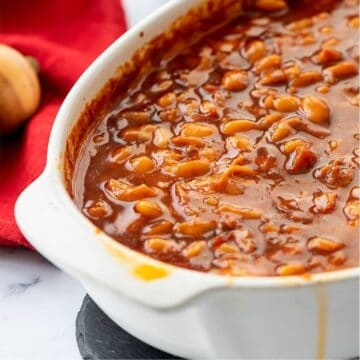 Baked Beans in white casserole dish