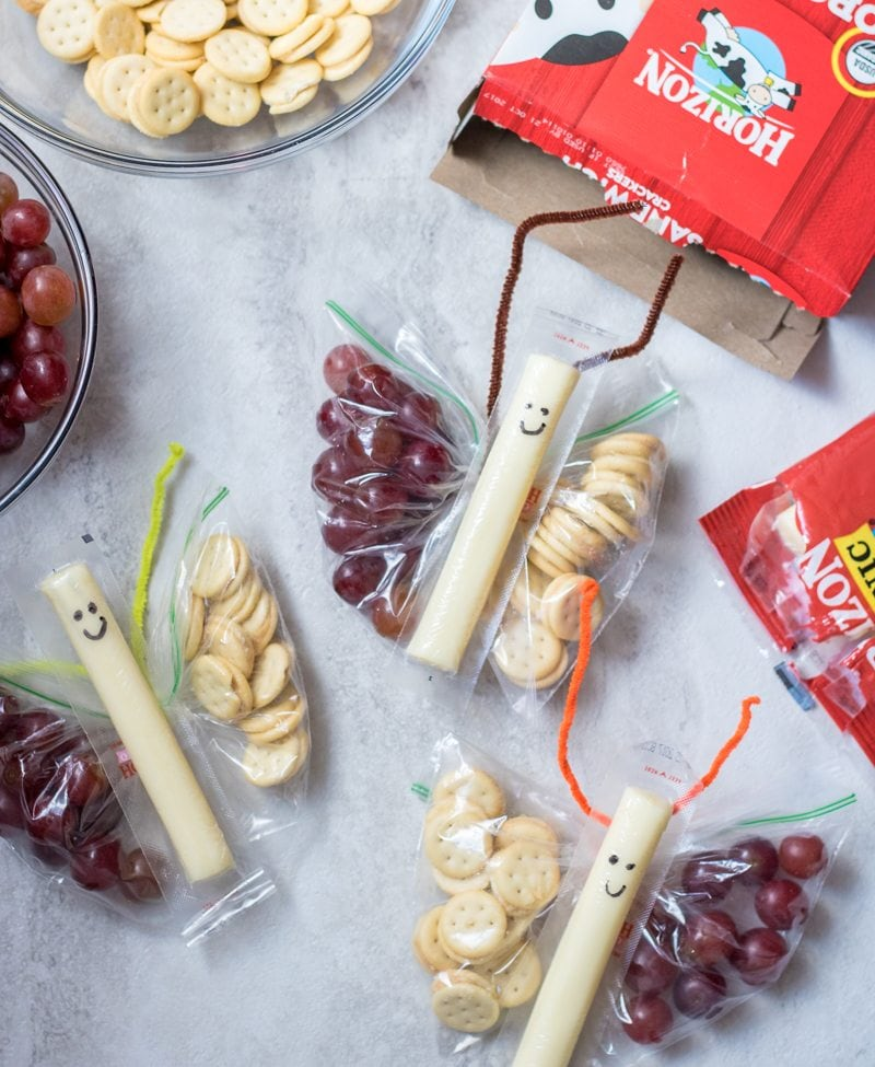Butterfly snack bags with grapes and crackers and cheese stick