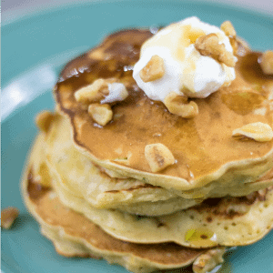 Zucchini Bread Pancakes on blue plate