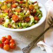BLT Summer Pasta Salad in white bowl