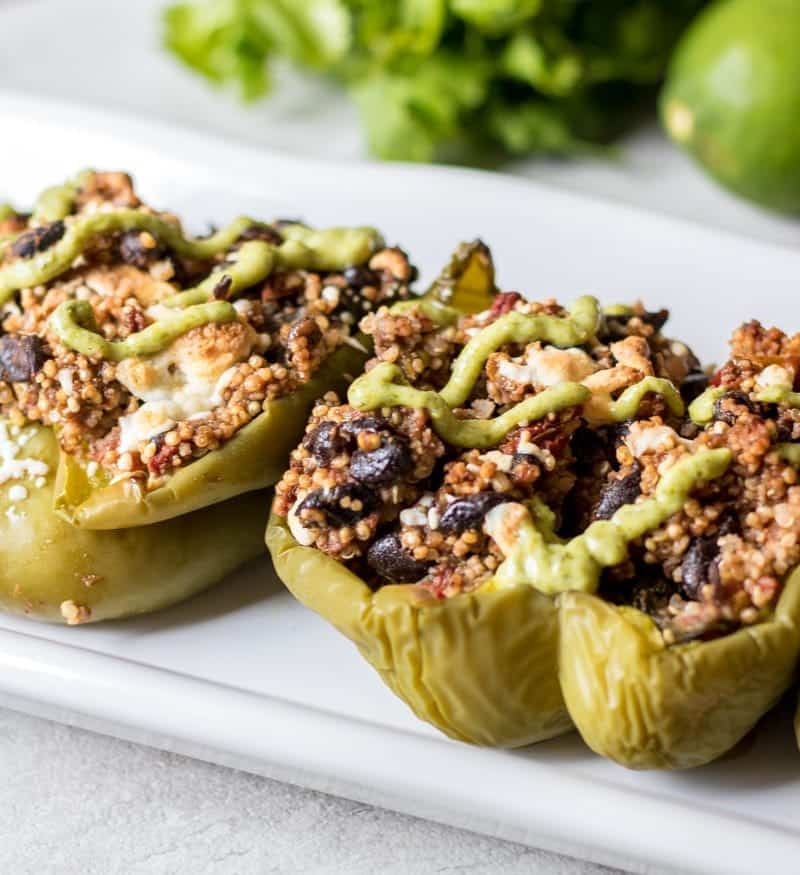 Quinoa Stuffed Peppers on white tray