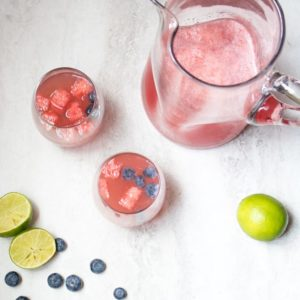 Watermelon Sangria: Fresh watermelon and lime juice are mixed up with crisp white wine and seltzer water for a Summer Sangria.