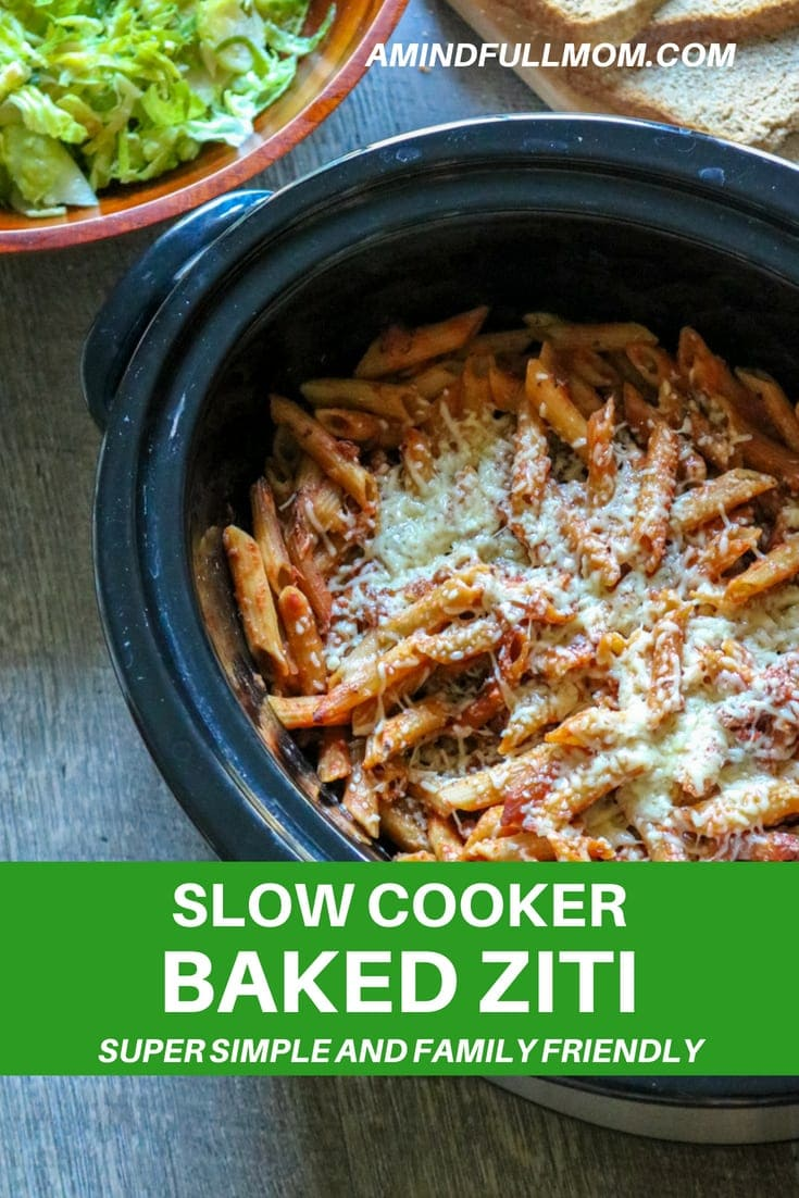Slow Cooker Baked Ziti:The easiest, most comforting baked pasta dish you will ever have--all made in your slow-cooker. Perfect for busy days. #slowcooker #pasta #meatless #easydinner #crockpot