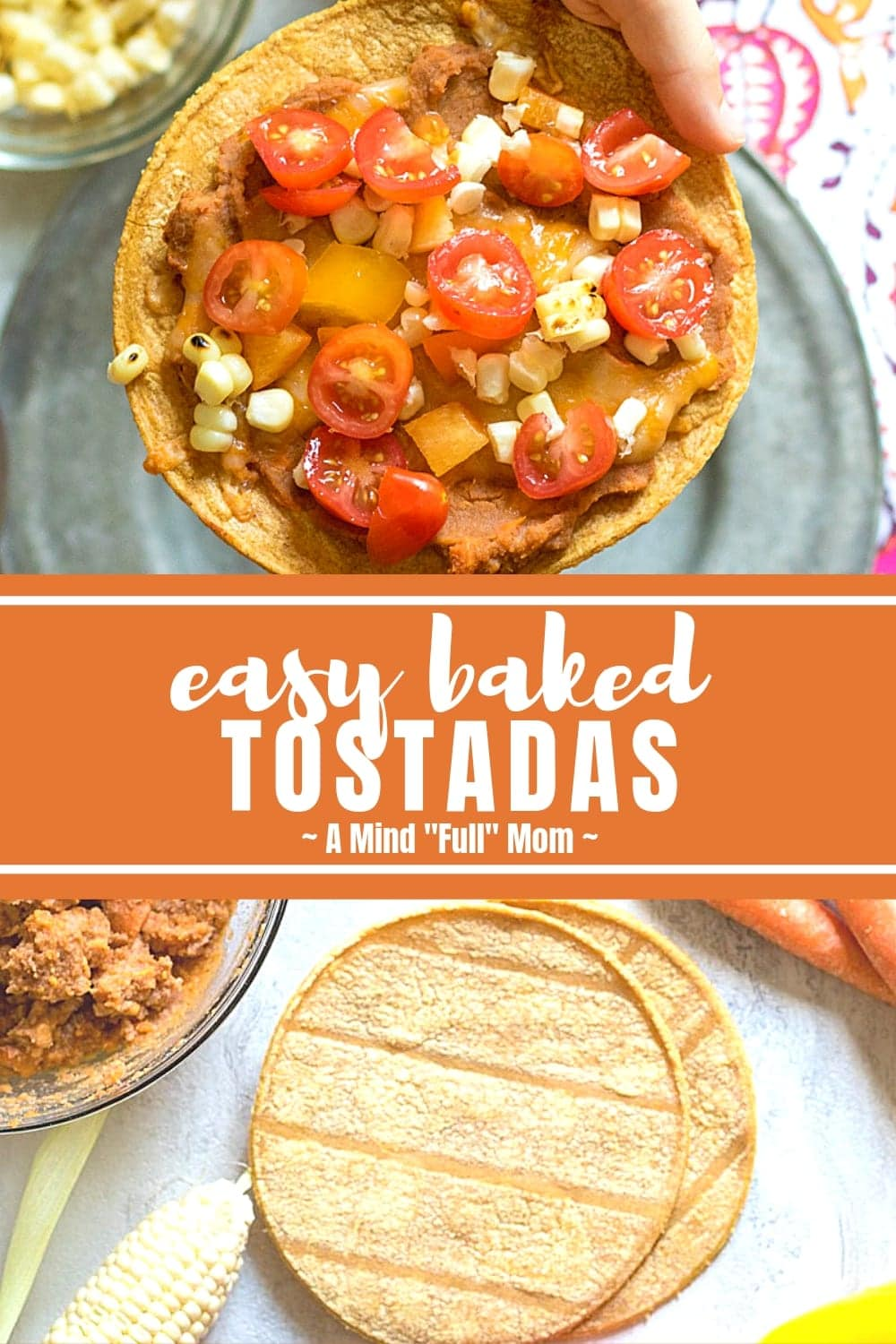 Homemade Tostadas are loaded with veggies and Mexican flavors for an irresistible healthy recipe. These Baked Tostadas are made with crisp corn tortillas, refried beans, cheese, and fresh vegetables. This kid-friendly meal packs a huge dose of vegetables in each serving.