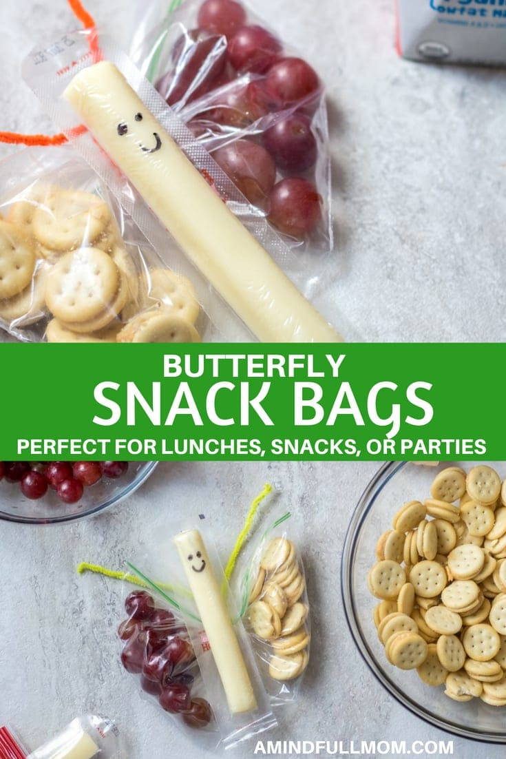 DIY Butterfly Snack Bags: An easy and healthy addition to any lunch, snack, or Butterfly Party, these Butterfly Snack Bags are sure to bring a smile to any child. Step-by-Step Instructions on how to make the bags and fill with snacks.#kidslunch #kidsnack #healthysnack #funsnack #kidfriendly #themedlunch