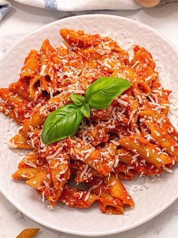 Plate of slow cooker ziti