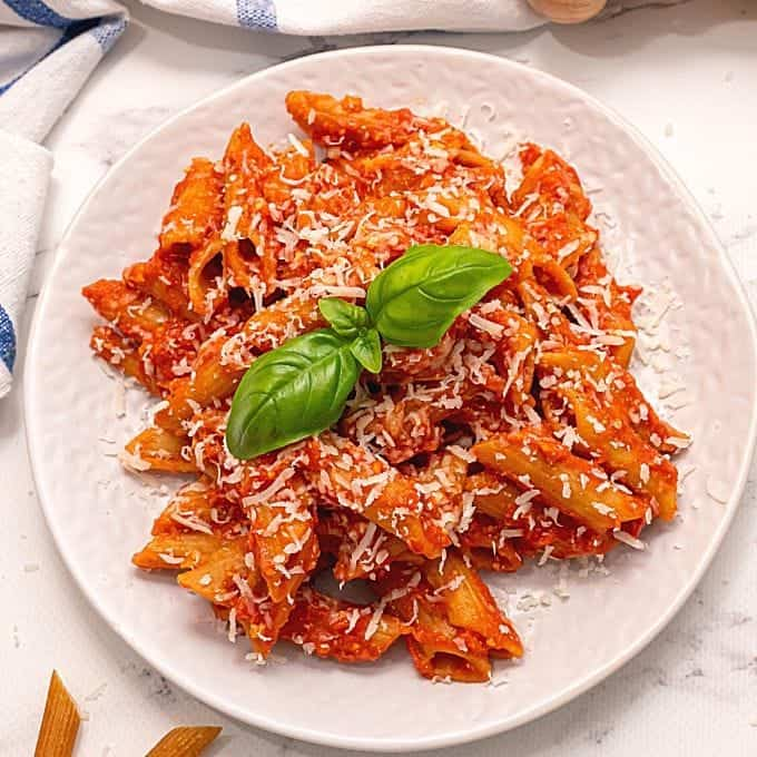 Plate of slow cooker ziti