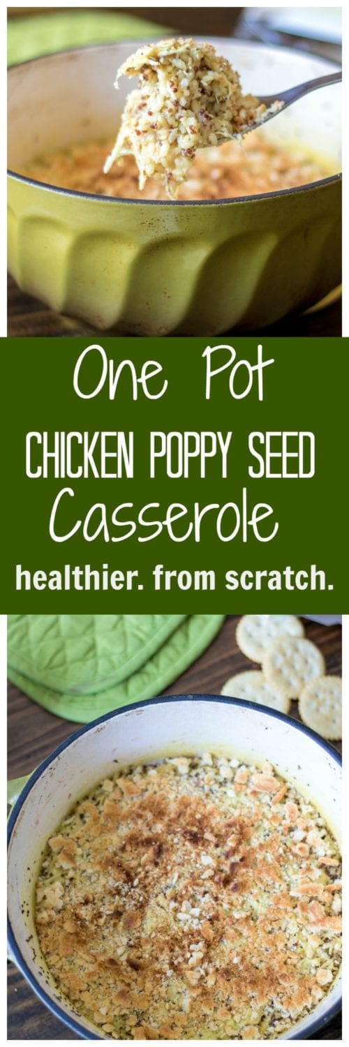 One Pot Healthy Chicken Poppy Seed Casserole: A creamy, easy dinner your whole family will love and you will love how quickly this Chicken Casserole Recipe comes together without sacrificing quality ingredients.