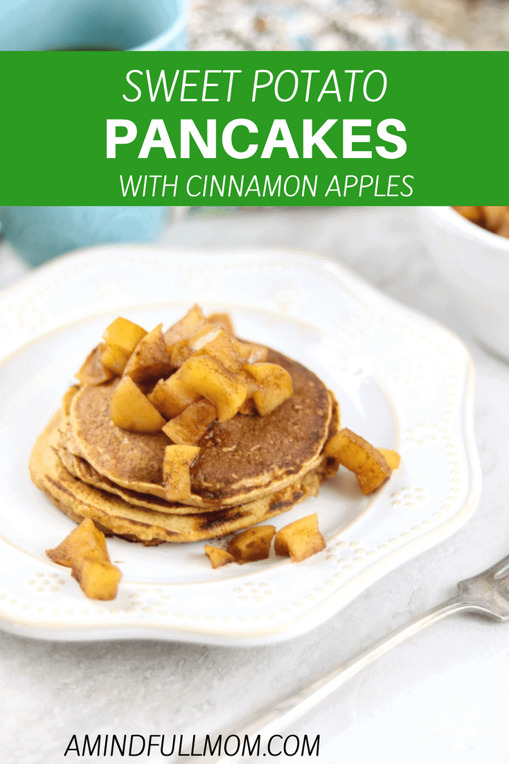 Whole Wheat Sweet Potato Pancakes with Spiced Apple Compote: Tender, whole wheat, sweet potato pancakes are topped with a spiced apple compote--a great way to start any day! #pancakes #sweetpotatopancakes #fallbreakfastrecipe #applecompote #wholewheat