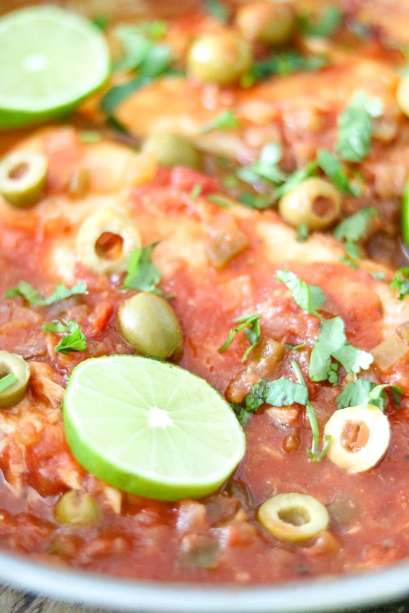 Easy skillet tilapia veracruz 5 ingredient one pot meal for Fish veracruz recipe