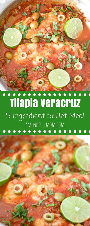 5 Ingredient Skillet Fish Veracruz | Easy Skillet Meal | One Pot Meal | Tilapia Recipe | White Fish Recipes | Paleo Recipes | Whole 30 Recipes| Low Carb Recipe