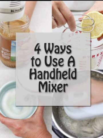 Collage of 4 ways to use hand held mixer with title text overlay