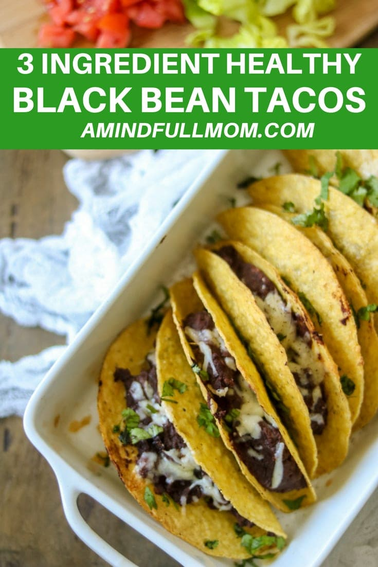 The EASIEST recipe for Tacos ever. These Black Bean Tacos are made with refried black beans, sharp cheese and are baked for an easy, gluten-free dinner. #glutenfree #tacos #meatless #vegetarian