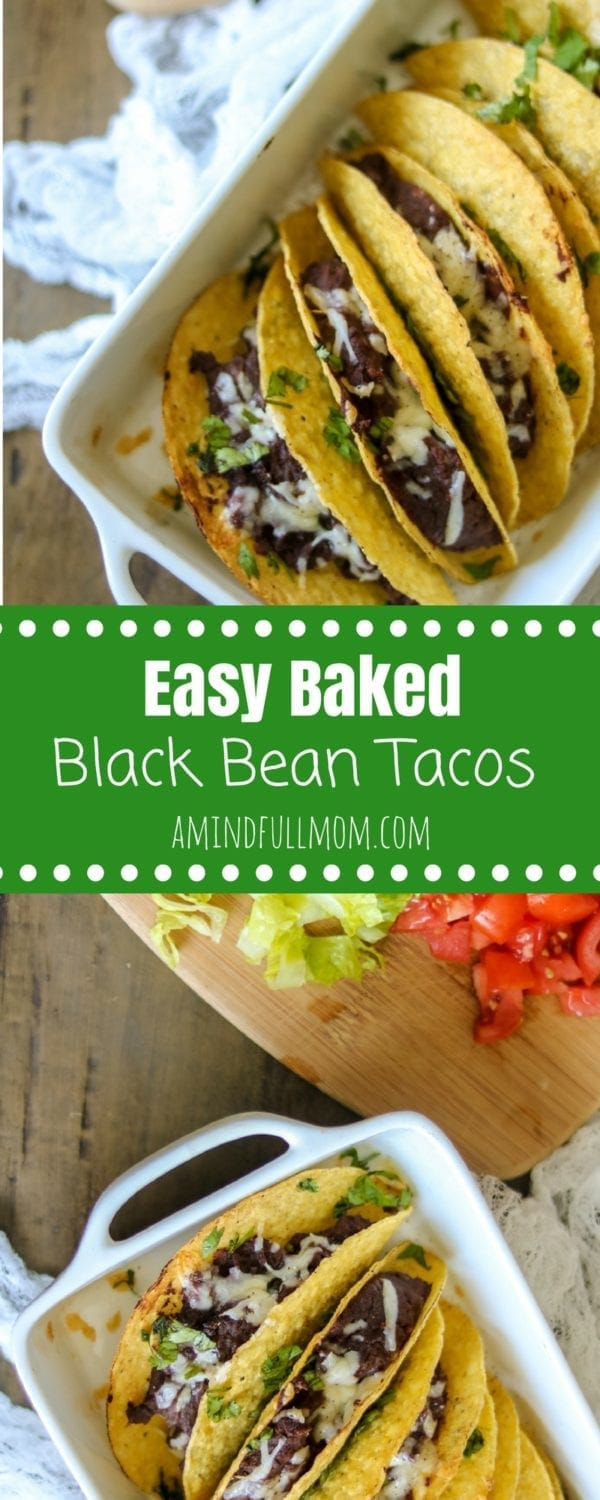 Healthy Black Bean Baked Tacos: Refried Chipolte Black Beans and sharp cheese are baked in crispy taco shells for an easy, gluten-free dinner. #Meatless #15MinuteMeal #Tacos #GlutenFree