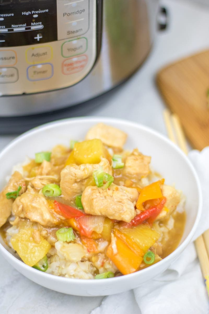 Instant Pot Sweet and Sour Chicken: A healthier spin on a favorite take-out dish that is made in under 10 minutes thanks to the Instant Pot.| Easy Chicken Dinner Recipes | Chicken Breast Recipes | Instant Pot Chicken Recipes | Asian Chicken Recipes | Gluten Free Chicken Recipes | Sugar Free Asian Recipes | Sugar Free Sweet and Sour Chicken | Gluten Free Sweet and Sour Chicken