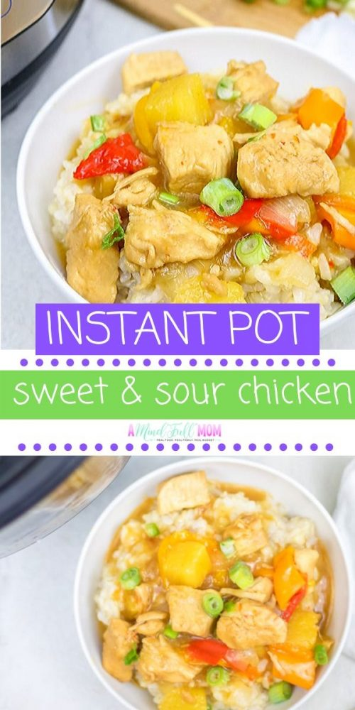 Instant Pot Sweet and Sour Chicken is a simple chicken recipe made with a naturally sweetened sweet and sour sauce, fresh veggies, and tender chicken. You can permanently put down the take-out menu, and enjoy a more wholesome version of Sweet and Sour Chicken in record time thanks to the Instant Pot!