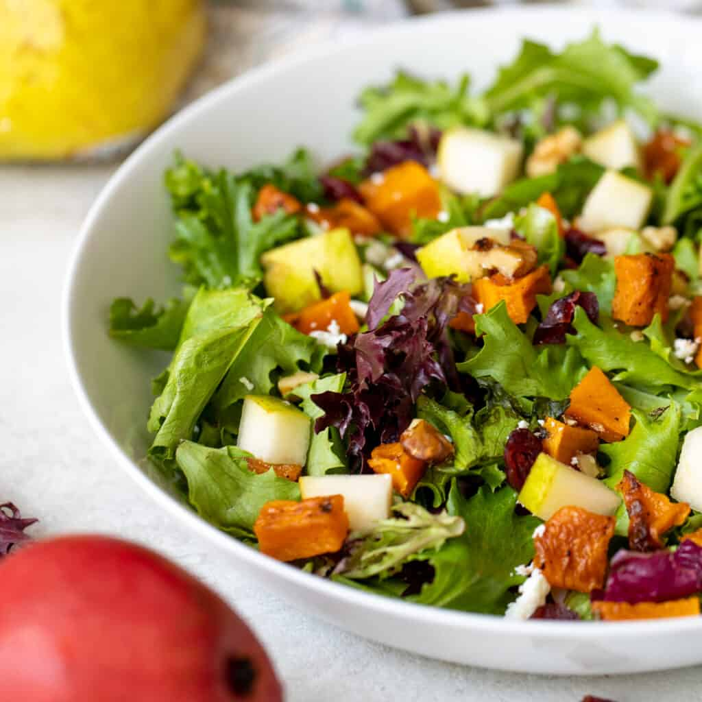 Close up of Mixed Greens with Roasted Butternut Squash, dried cranberries, feat, and pears with Apple Cider Dressing