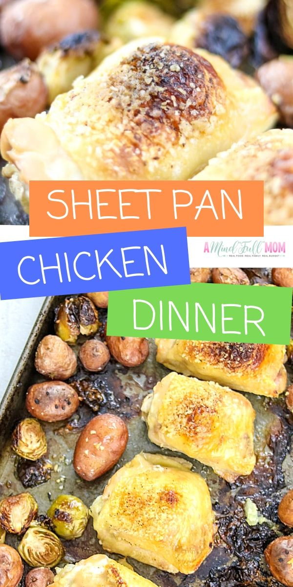 Sheet Pan Crispy Chicken Thighs is an easy to make dinner using one sheet pan. Chicken Thighs, are roasted to perfection along with Brussels sprouts, and red potatoes for a simple, healthy, gluten free family dinner. This easy chicken recipe is a perfect dinner for busy nights!