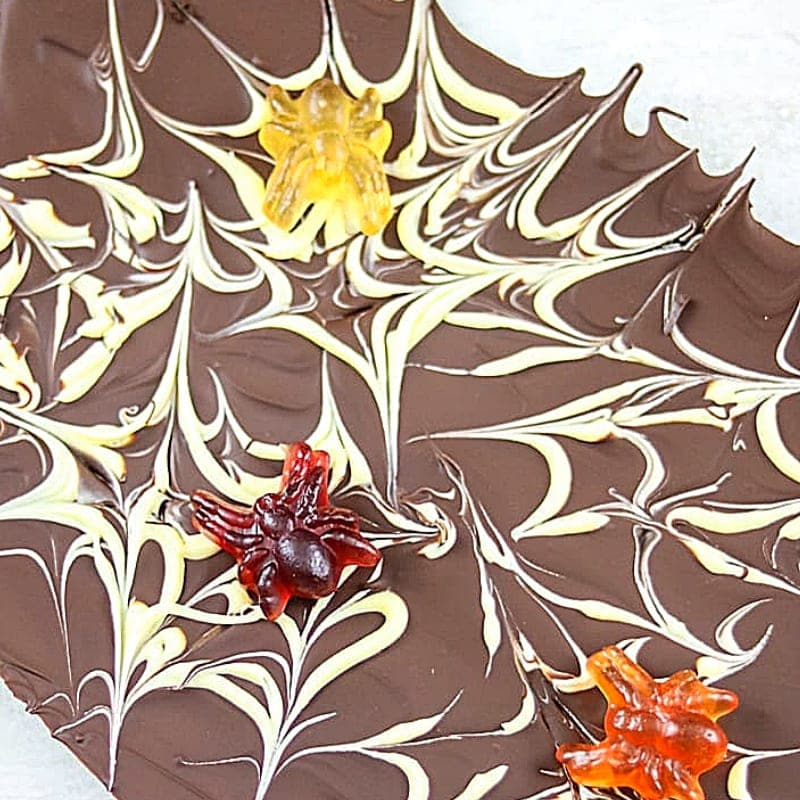 Chocolate Bark with Gummy Spiders.