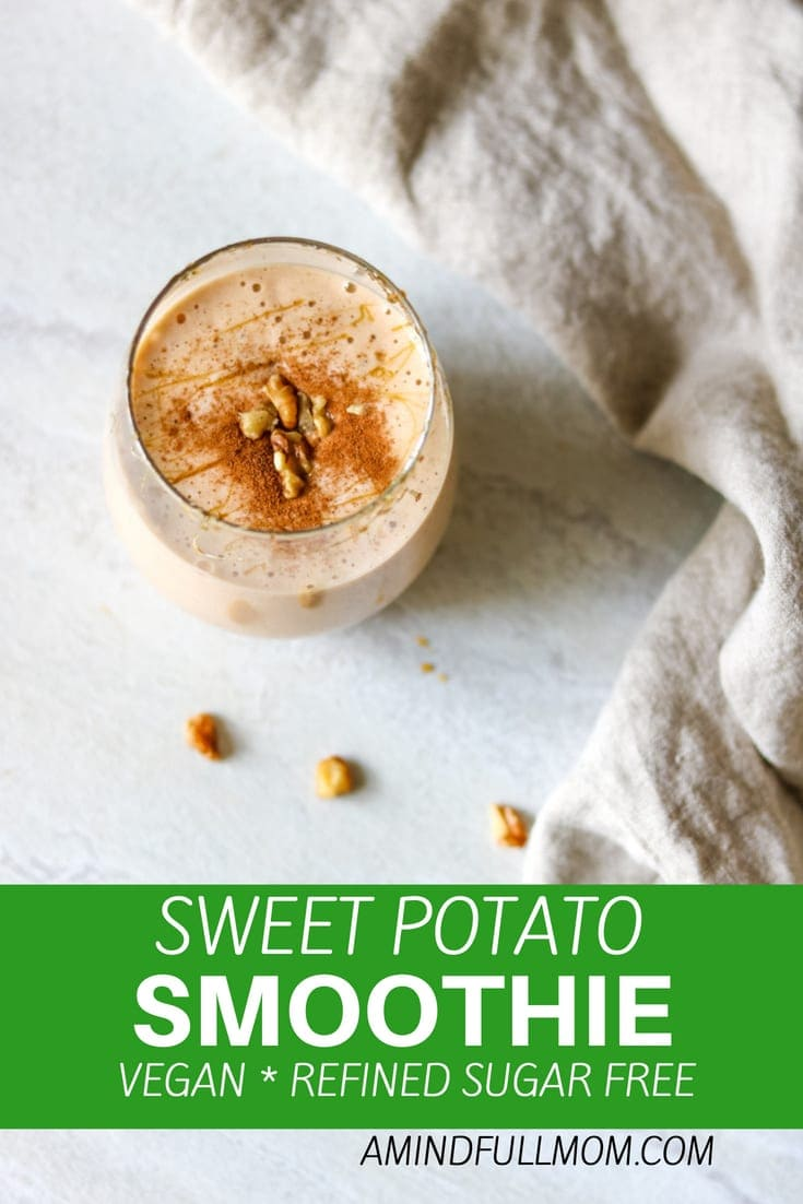 Sweet Potato Smoothie: Sip on a delicious vegan smoothie loaded with warming spices and hints of maple this smoothie tastes just like sweet potato pie! #vegan #dairyfree #smoothie #sweetpotato
