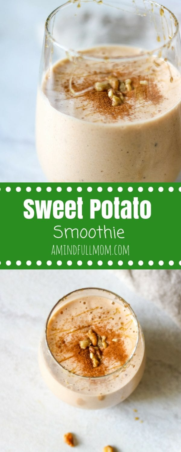 Sweet Potato Smoothie: Sip on a delicious vegan smoothie loaded with warming spices and hints of maple this smoothie tastes just like sweet potato pie!| Vegan Smoothie Recipe | Healthy Smoothie Recipe | Easy Smoothie Recipe | Dairy Free Smoothie Recipe