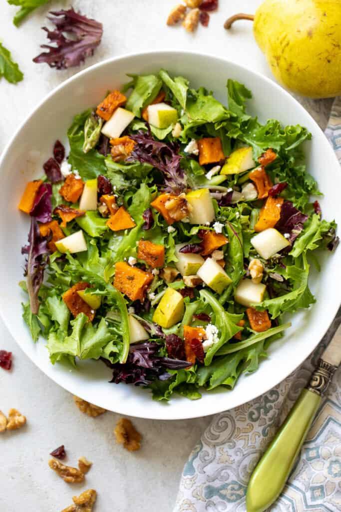 Squash Salad in white bowl