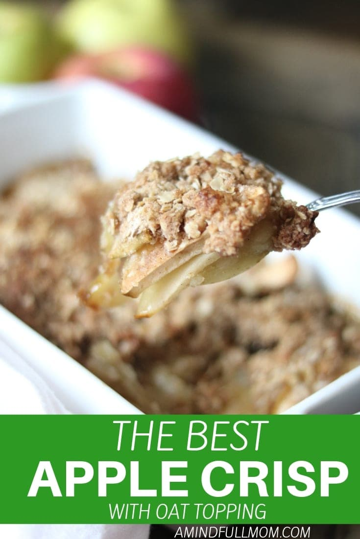 Simply the BEST easy Apple Crisp recipe. An old fashioned version of apple crisp that is made with a variety of apples and an oat topping.  #applecrisp #appledessert #dessert #fallrecipe #apples #crisps #oldfashionedrecipe #falldessert