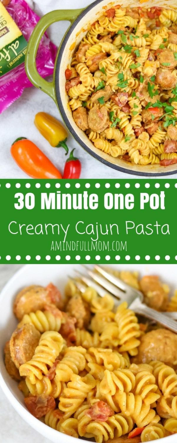 Easy One Pot Creamy Cajun Pasta: It is easy as dump and simmer and in less than 30 minutes a hearty pasta with a creamy, slightly spicy sauce will be on the table ready to win your family's tastebuds over! #30minutemeal #chickensausage #chickenrecipe #pastadinner #onepotwonder #easydinnerrecipe