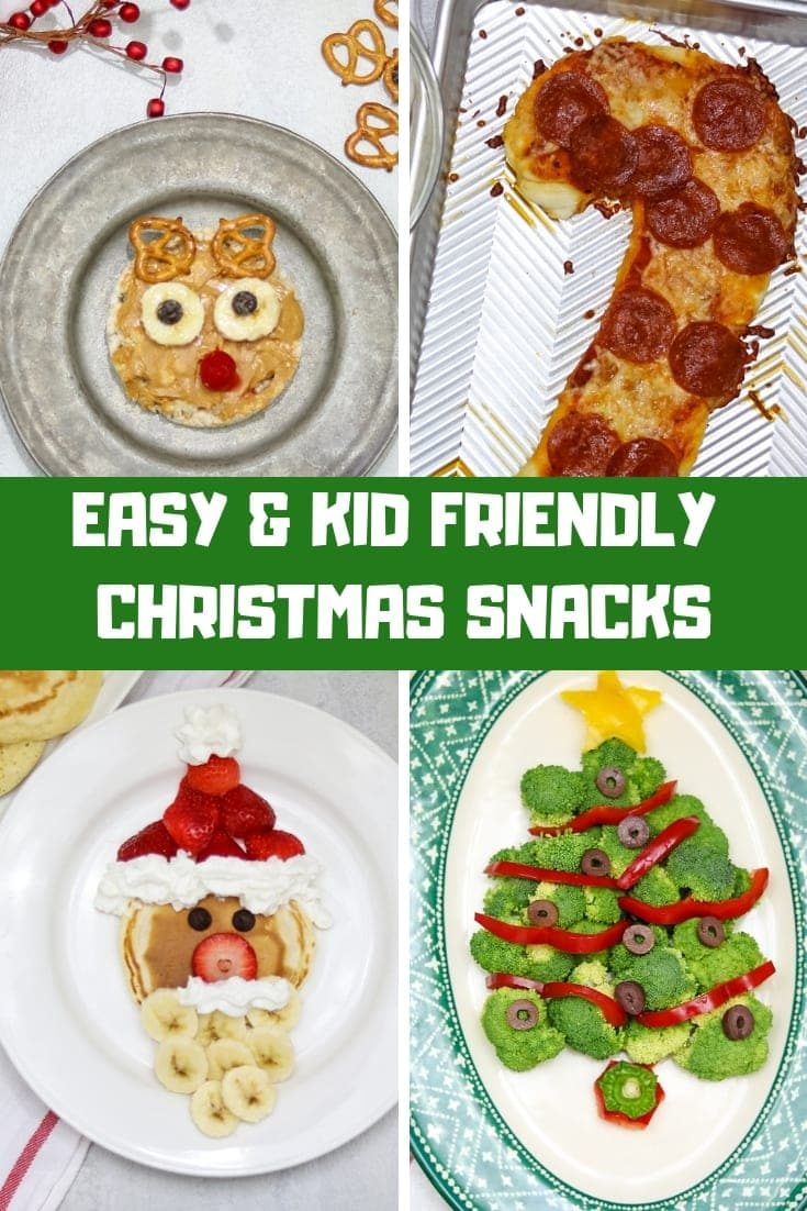 Add a little magic to your food this holiday season with these festive treats! These Easy Kid Friendly Christmas Recipes are sure to bring a smile to children, big and small! Step-by-step instructions on how to make Santa Pancakes, Broccoli Christmas Tree, Rudolph Reindeer Rice Cake, and a Candy Cane Pizza.