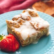 Overnight French Toast Casserole on blue plate