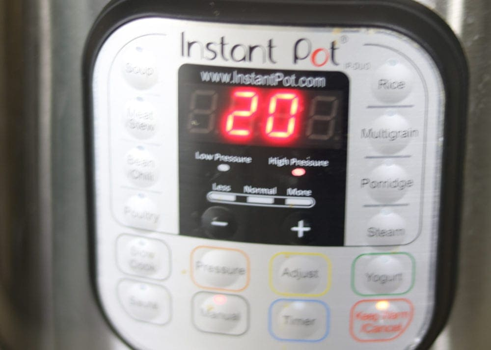 Instant Pot set to 20 minutes to perfectly cook frozen ground beef.