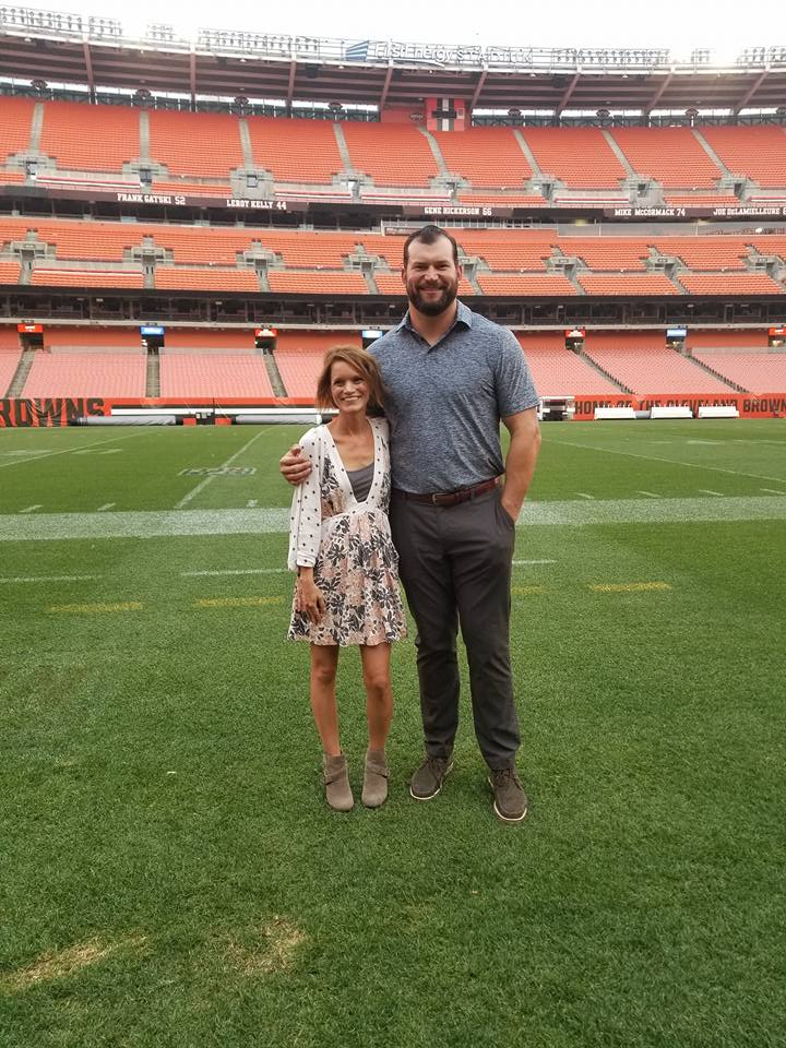 Kristen Standing Next to Joe Thomas on the Cleveland Browns Field. Meeting Cleveland Brown's Player Joe Thomas on the Cleveland Browns Field.