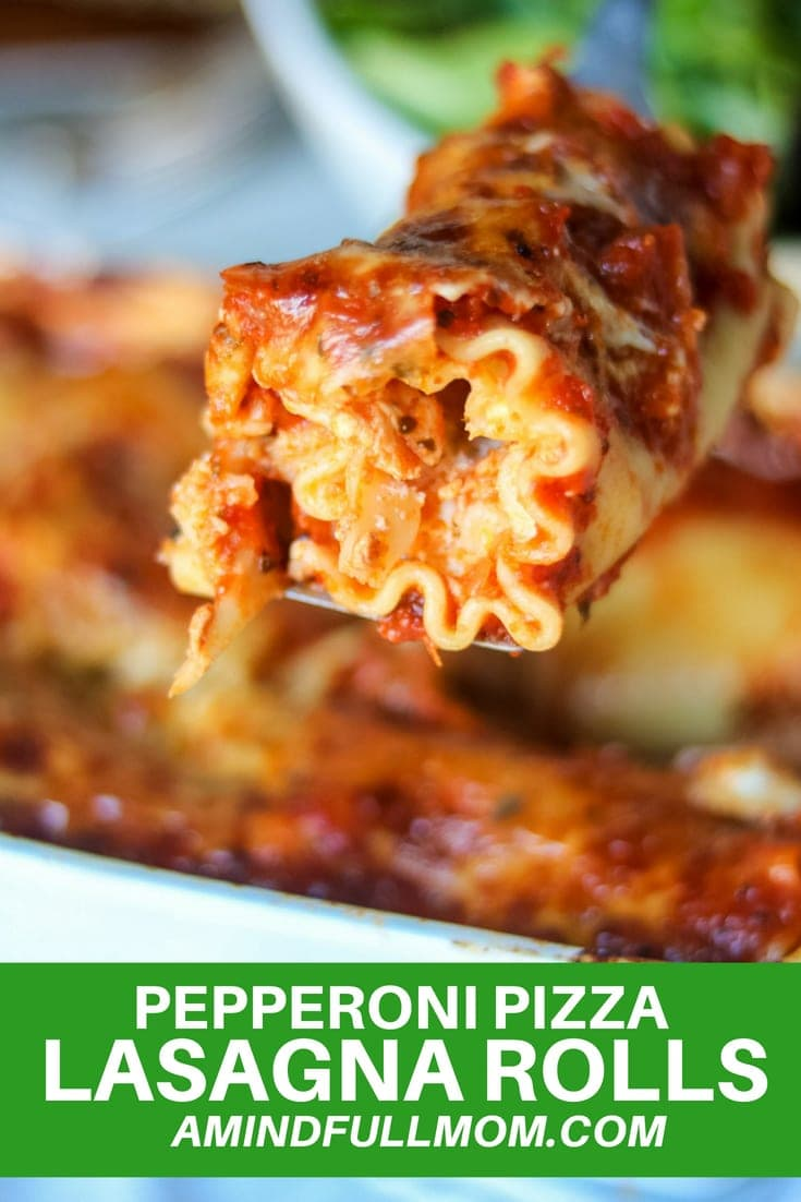Pizza meets lasagna in this Easy Pizza Lasagna Recipe! All your favorite flavors of pizza are showcased in a simple recipe for lasagna rolls that your whole family will love.#lasagna #pizza #familymeal