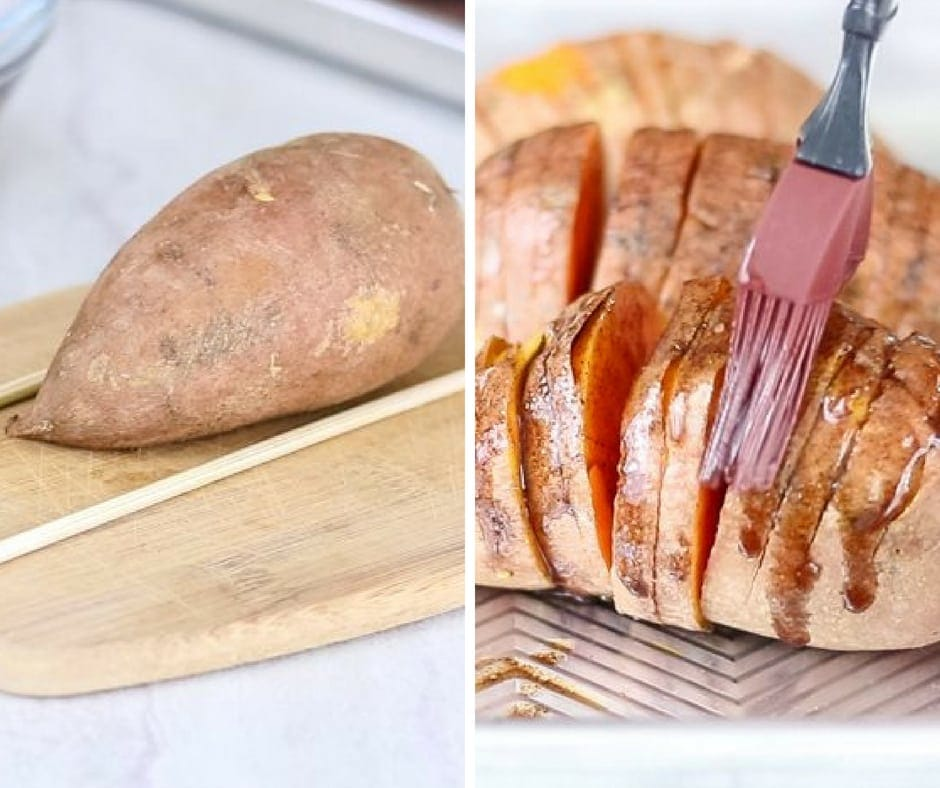 Steps to making Hasselback Sweet Potatoes