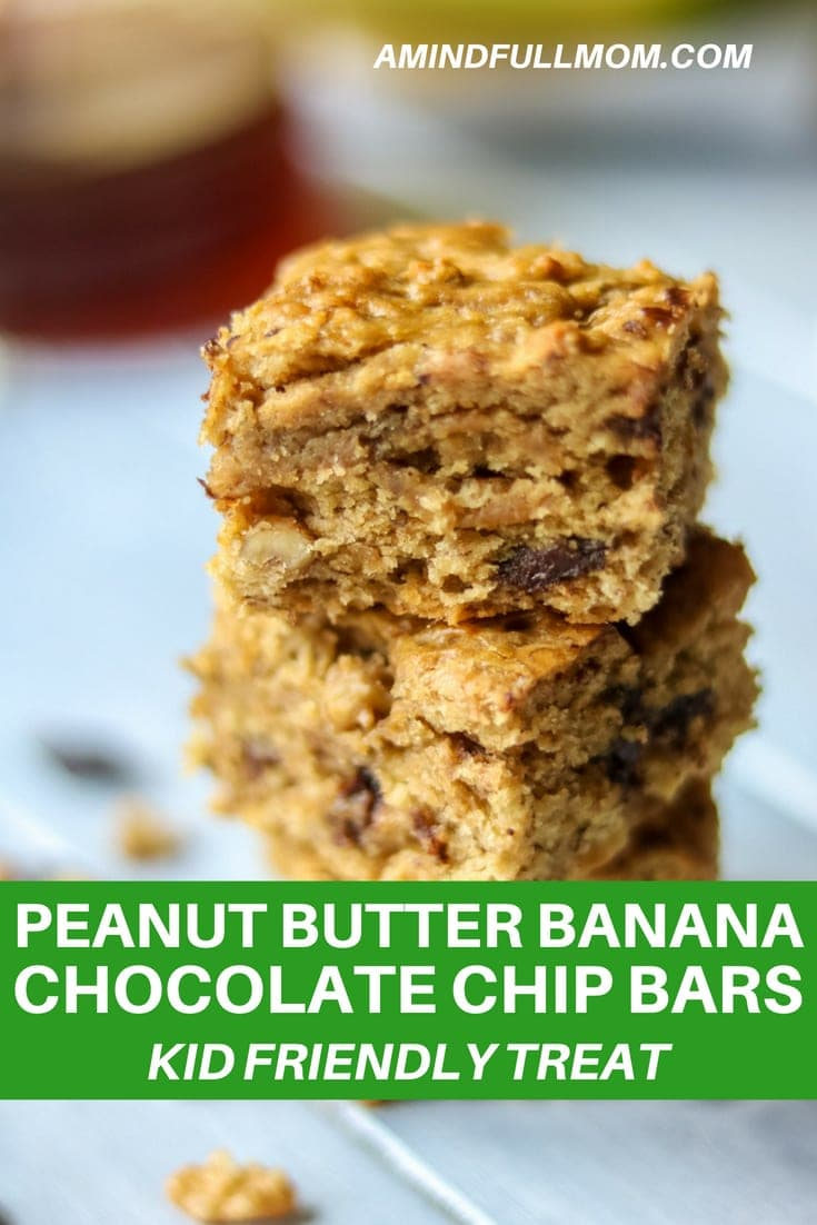 Chunky Monkey Bars: Chocolate Chip Peanut Butter Banana Bars: A delicious peanut butter banana bread bar filled with chocolate chips and chopped walnuts. Directions for Gluten-Free Peanut Butter Chocolate Chips Bars along with the traditional recipe #cookie #glutenfree #barcookie #peanutbutter #chocolate