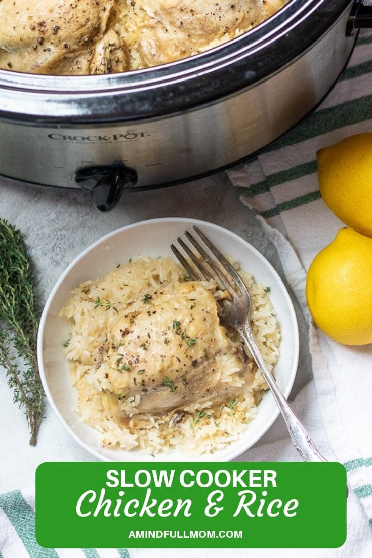 The EASIEST set it and forget it Chicken and Rice recipe. Chicken thighs and rice cook up perfectly with garlic, lemon and thyme for an easy, wholesome family meal made in the crock-pot.