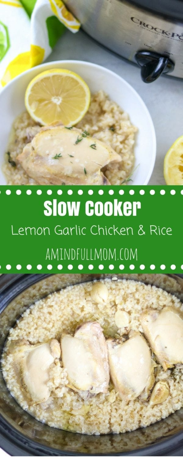 Slow Cooker Lemon Garlic Chicken and Rice: The EASIEST set it and forget it Chicken and Rice recipe. Chicken thighs and rice cook up perfectly with garlic, lemon and thyme for an easy, wholesome family meal made in the crock-pot.