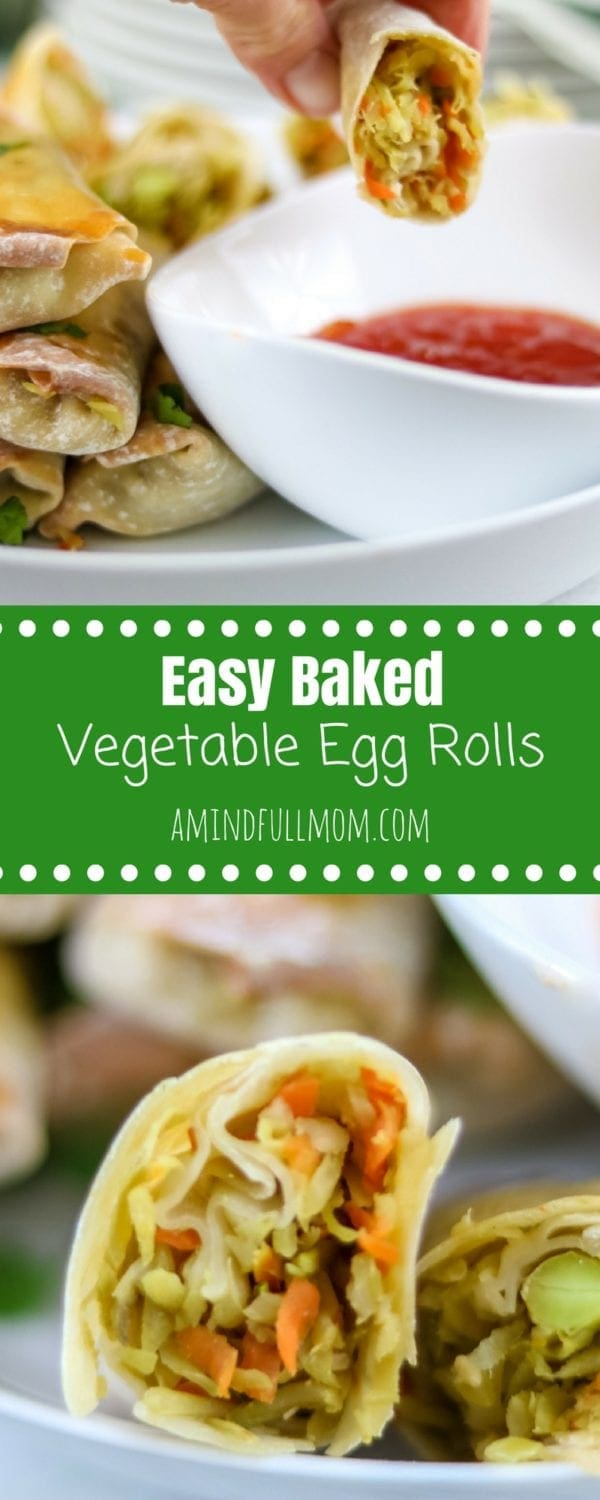 Easy Baked Vegetable Egg Rolls: Step-by-step directions to make simple crispy baked egg rolls using fresh vegetables. Served with a simple Homemade Sweet and Sour Dipping Sauce.