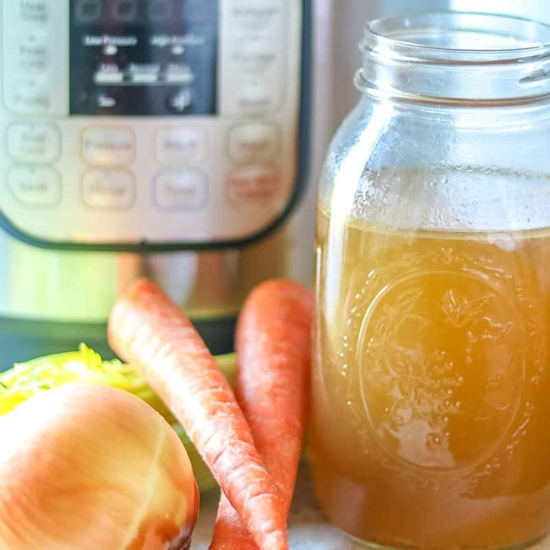 How to Make Stock in In the Instant Pot: Step by step directions on how to make the most flavorful bone broth in the Instant Pot. Variations  for Vegetable Stock, Turkey Stock and Beef Stock recipes as well.