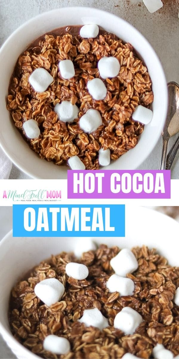 Add a little magic to your oatmeal with this recipe for Hot Chocolate Oatmeal! Creamy, rich, and satisfying, this chocolate oatmeal recipe will make the big and little kids happy! This oatmeal recipe is decadent tasting, while still being incredibly healthy. It can be made dairy-free, vegan, and gluten free. It is a perfect school day breakfast!