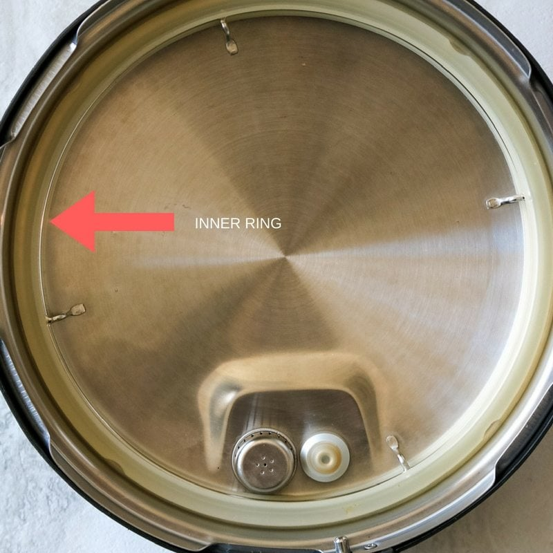 Red Arrow pointing to inner ring on Instant Pot