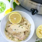 Slow Cooker Lemon Garlic Chicken and Rice: The EASIEST set it and forget it Chicken and Rice recipe. Chicken thighs and rice cook up perfectly with garlic, lemon and thyme for an easy, wholesome family meal.