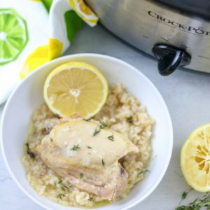 Slow Cooker Lemon Garlic Chicken and Rice